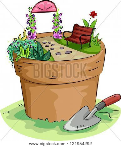 Illustration of a Miniature Garden Built on Top of a Pot