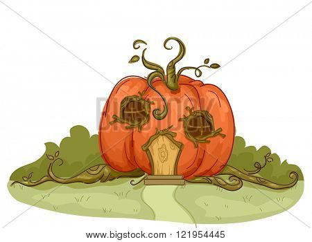 Illustration of a Pumpkin House with Vines Flowing From It