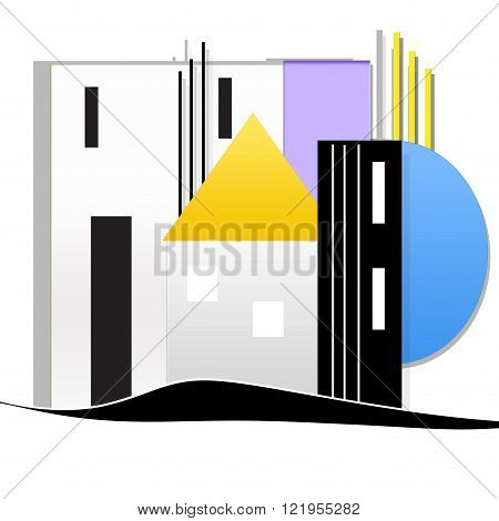 white background with modular system  and house