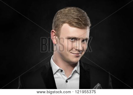 Funny businessman in suit.