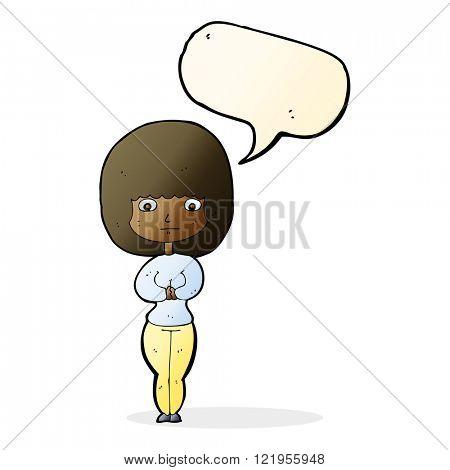cartoon shy woman with speech bubble