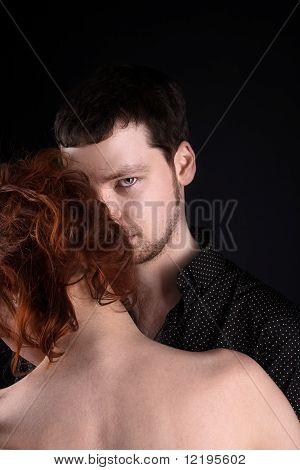 Man and red woman - lovers portrait
