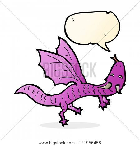cartoon little dragon with speech bubble