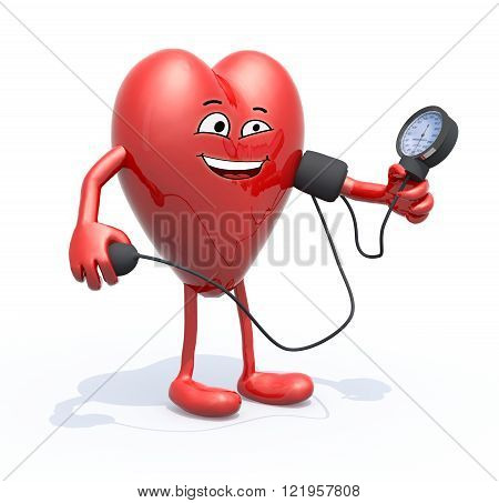 heart with arms and legs measuring blood pressure isolated 3d illustration