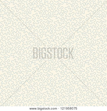 Tangled doodle pattern in teal colors. Seamless vector background.