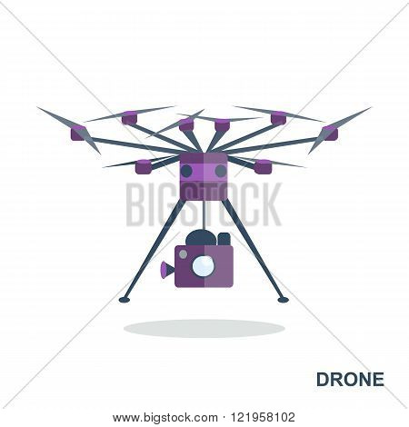 Flying drone flat icon. Aerial drone footage icon. Remote aerial quadrocopter with a camera. Flat design. Isolated