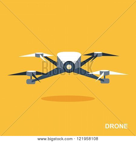 Flying drone flat icon. Aerial drone footage icon. Remote aerial drone with a camera. Flat design. Isolated