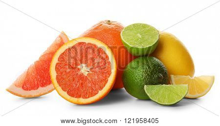 Mixed citrus fruit including lemons, grapefruits, orange and limes isolated on a white background, close up