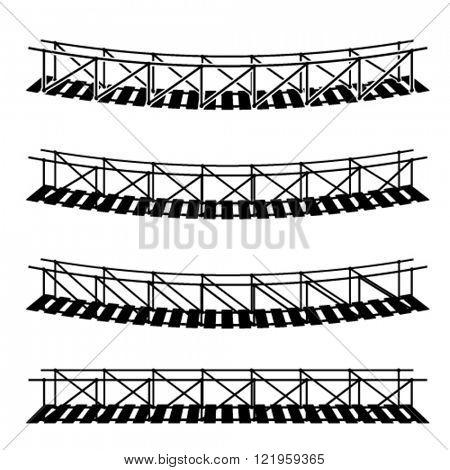 vector simple rope suspension hanging bridge black symbol