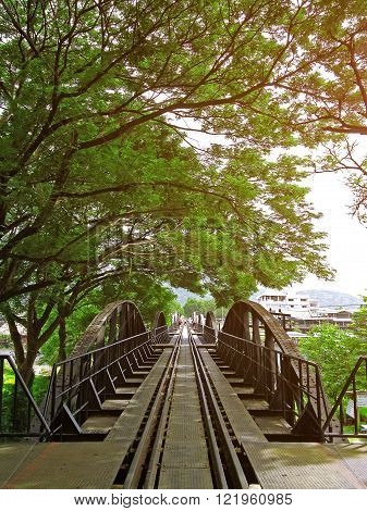 The famous Bridge on the river kwai KanchanaburiThailand in the sun