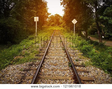 Railway line passing through the forest at sun light