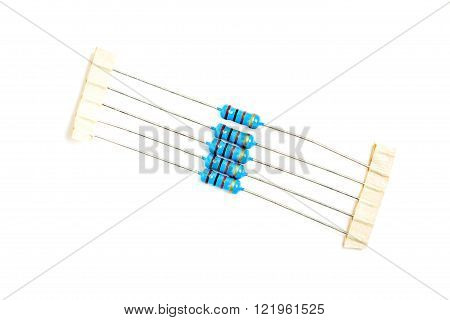 pack of resistors isolated on white background