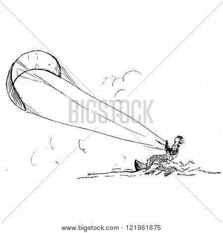 hand drawn kitesurfer