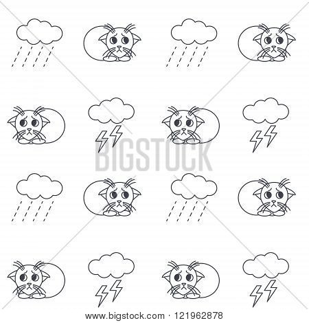 Homeless kittens outside in bad weather seamless pattern.