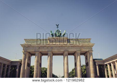 brandenburg gate berlin germany - vintage style