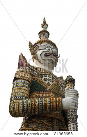 Giant decorated mythical figure seen guarding religious sites in Thailand.