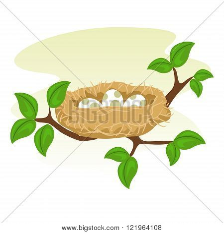 Stock Vector of a Birds Nest and Egg