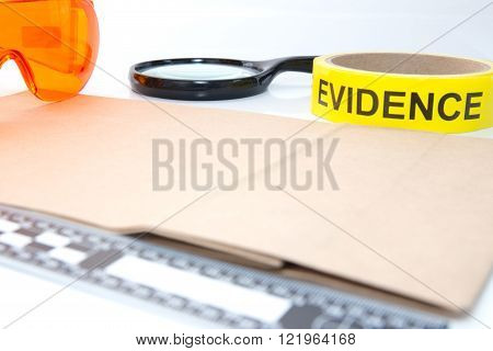 evidence tape and forensic tool for crime scene investigation