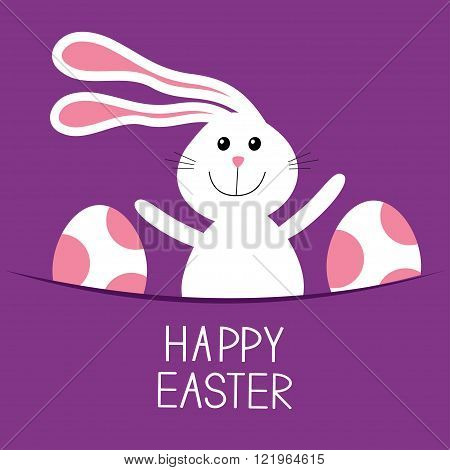 Happy Easter. Bunny rabbit hareand pained egg in the pocket. Baby greeting card. Violet background. Flat design. Vector illustration