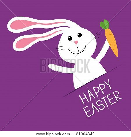Happy Easter. Bunny rabbit hare holding carrot Paper pocket. Baby greeting card. Violet background. Flat design. Vector illustration