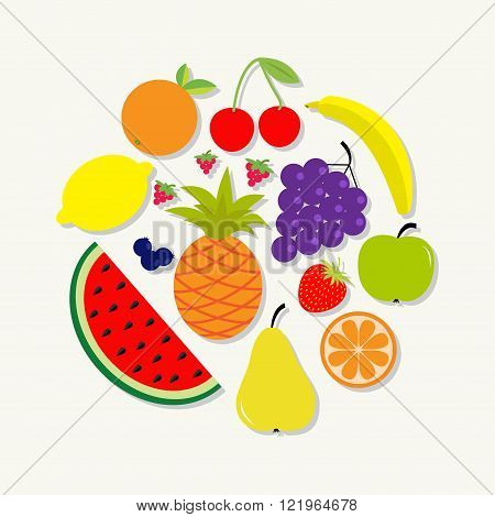 Juicy ripe fruit and berry set. Banana cherry strawberry orange pineapple grape lemon cherry watermelon blueberry pear raspberry apple Round composition Isolated Flat design Vector illustration