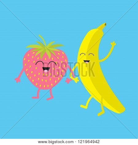 Banana and strawberry. Happy fruit set. Smiling face. Cartoon smiling character with eyes. Friends forever. Baby background. Flat design. Vector illustration