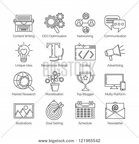 A set of flat thin line icons on white background for successful blogging business. It includes: newsletter social seo content writing design coding idea etc