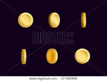 Sprite sheet effect animation of a spinning golden coin sparkling and rotating. For video effects game development