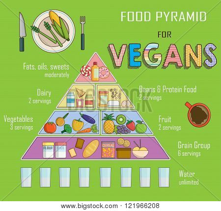Infographic chart, illustration of a food pyramid for vegetarian nutrition. Shows healthy food balan