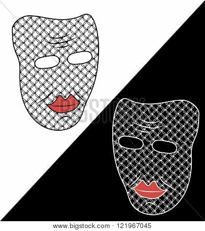 Two masks on white and black background. White and black masks. Fancy masks. Unusual masks. Masks wi