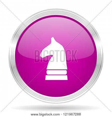 chess horse pink modern web design glossy circle icon