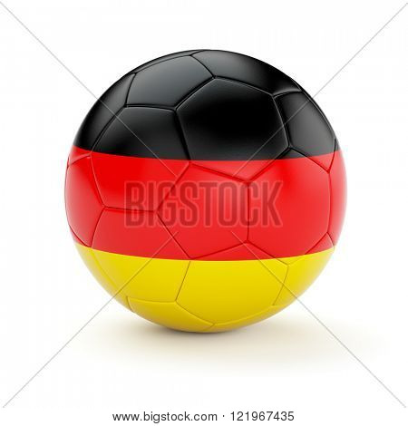 Soccer football ball with Germany flag isolated on white background