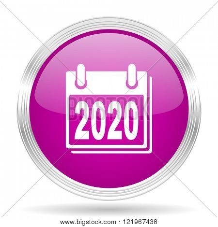 new year 2020 pink modern web design glossy circle icon