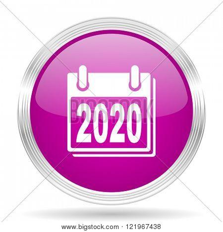 new year 2020 pink modern web design glossy circle icon