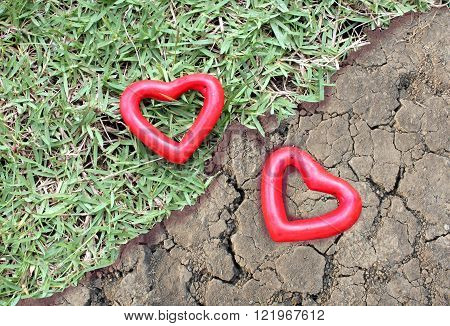 two red heart on the grass and arid land