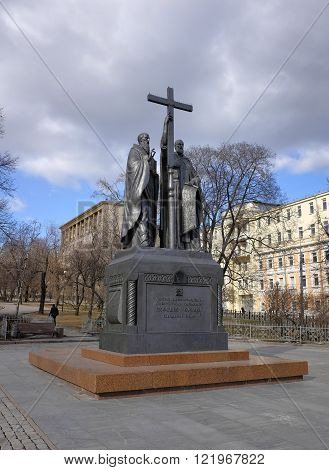 MOSCOW, RUSSIA - MARCH 14, 2016: Monument to Cyril and Methodius the holy lighteners creators of the Slavic alphabet mounted on the Slavyanskaya Square