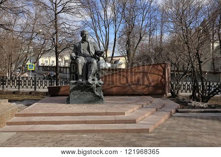 MOSCOW, RUSSIA - MARCH 14, 2016: Monument to Dagestani poet Rasul Gamzatov on Yauza Boulevard landmark
