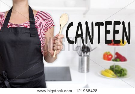 canteen cook holding wooden spoon concept background.