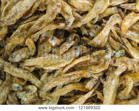 Many of crispy fried and salted small fish with bone (Source of calcium to prevent osteoporosis)