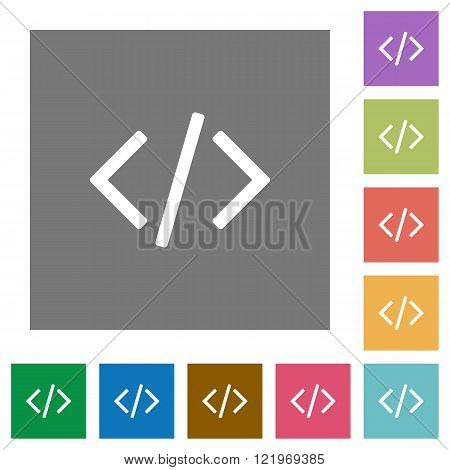 Programming code flat icon set on color square background.