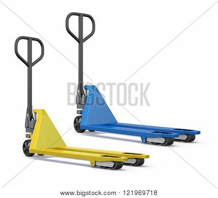 Two hand pallet trucks on a white background. 3D rendered image