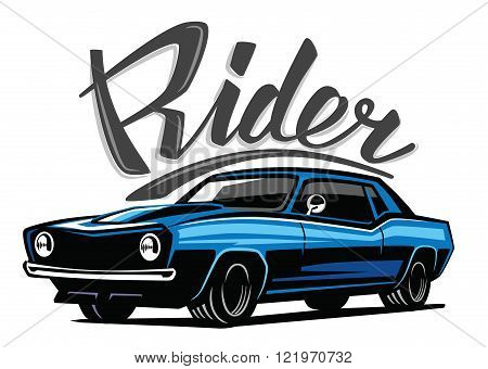 vector blue muscle car