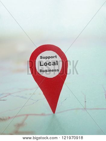 Red locator with Support Local Business message