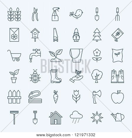Line Gardening Tools Icons Set