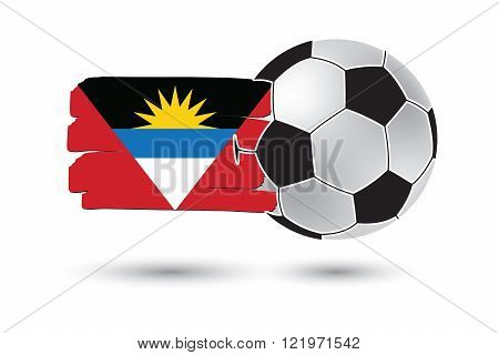Soccer ball and Antigua and Barbuda Flag with colored hand drawn lines