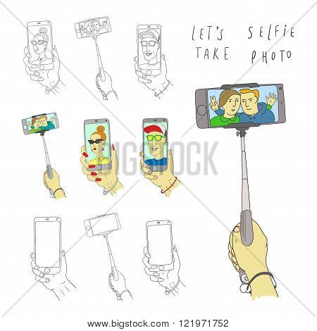 Selfie on smartphone. Man and Woman. Doodle set. Vector