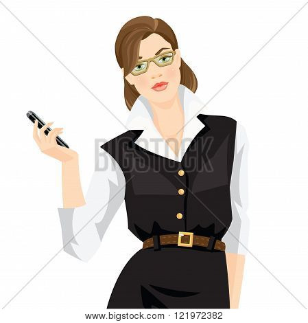 Vector illustration of teacher or business woman in glasses isolated on white background. Brunette woman in formal white blouse and black dress holding mobile phone in her hand.