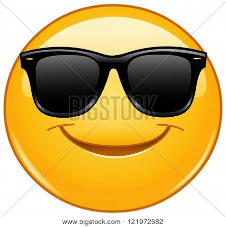 Happy yellow ball with sunglasses