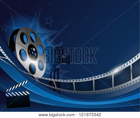 Blue abstract film reel movie background