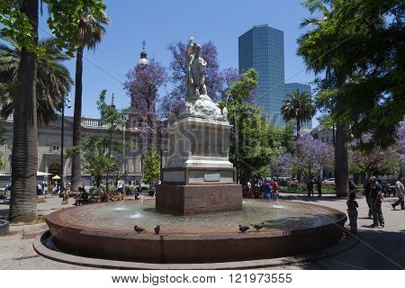 Fountain on the main square in Santiago de Chile